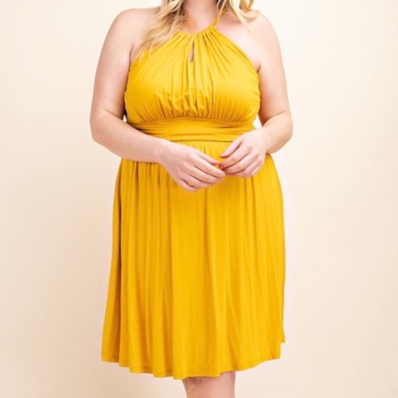 Plus Size Mustard Halter Dress Boutique